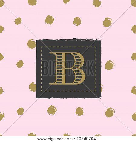 Monogram on hand drawn ink background polka dot