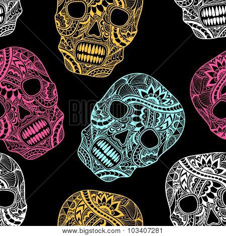 Seamless, pattern, texture,  background, template,  Decorate,  Skull, painted, ornament, lace, flowe
