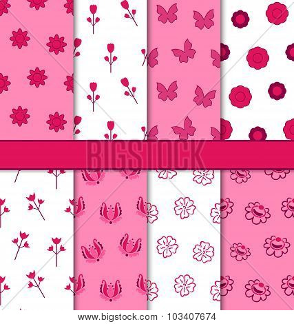 Set of 8 Seamless Abstract Floral Romantic Pattern