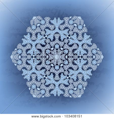 Winter background with stylized snowflakes. Vector illustration.