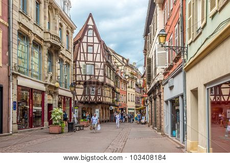 Timbered Houses In The Streets Of Colmar City.