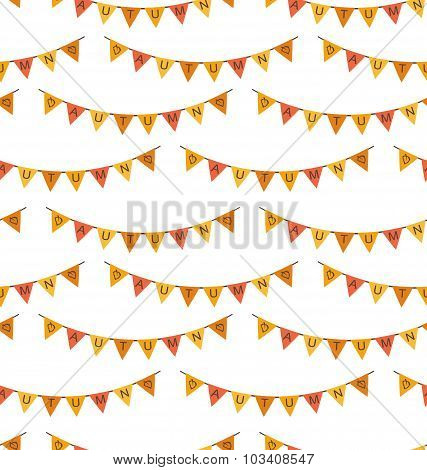 Seamless Pattern with Autumn Bright Buntings