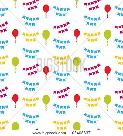 Seamless Pattern with Bunting Party Flags for Your Designs
