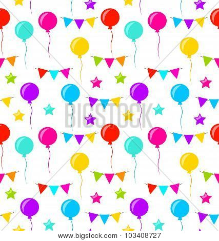 Seamless Texture with Bunting Party Flags, Balloons, Stars