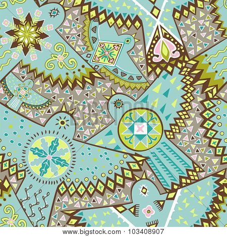 Vector Seamless Pattern. Ethnic Stylish Background With Birds.