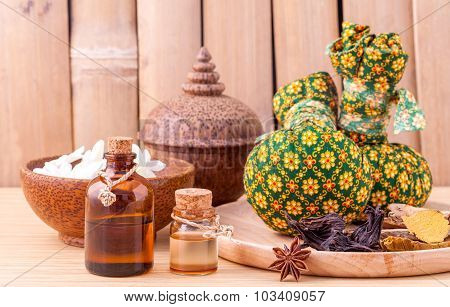 Natural Spa Ingredients Herbal Compress Ball And Essential Oil For Alternative Medicine And Relaxati