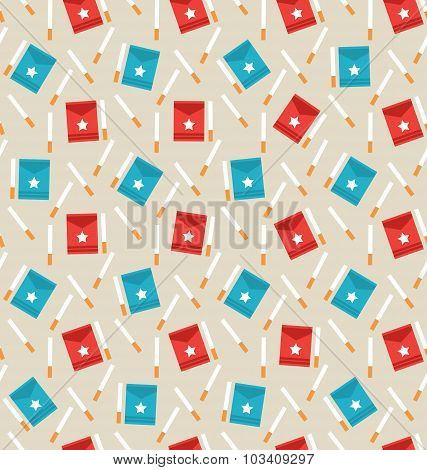 Seamless Pattern of Package Boxes and Cigarettes