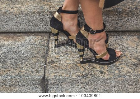 Detail Of Shoes Outside Ferragamo Fashion Show Building In Milan, Italy