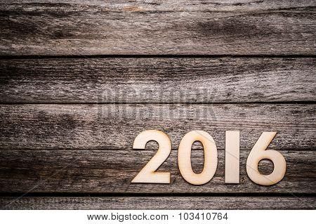 2016 Written In Wooden Figures