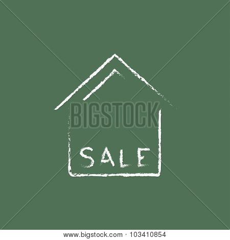 House for sale hand drawn in chalk on a blackboard vector white icon isolated on a green background.