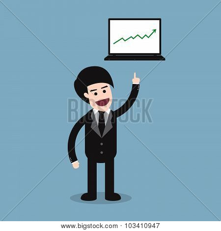 Stock Raise Up High With Business Man And Laptop