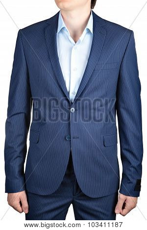 Pinstriped Blue, Casual Or Prom Blazer For Men, On White.