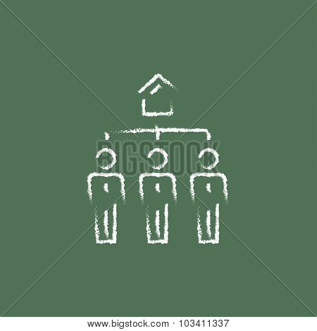 Three real estate agents hand drawn in chalk on a blackboard vector white icon isolated on a green background.