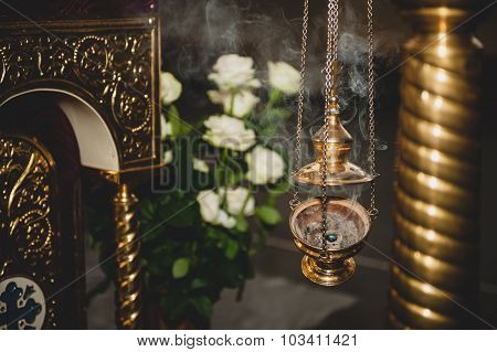 Censer With Smoke  In Church