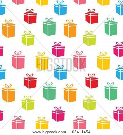 Seamless Pattern of Colorful Simple Gift Boxes