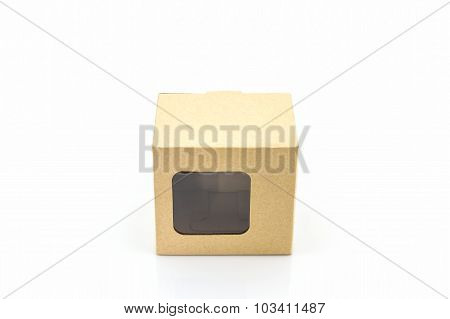 Brown Paper Box With Transparent Window.