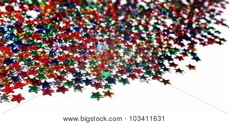 Scattered Glittering Stars Confetti. Text Frame.