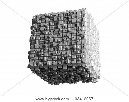 Cube With Extruded Surface Isolated On White