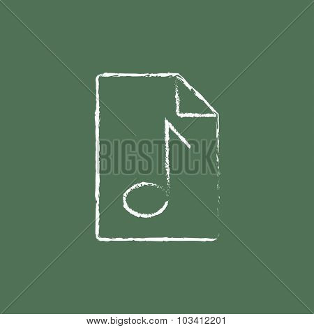 Audio file hand drawn in chalk on a blackboard vector white icon isolated on a green background.
