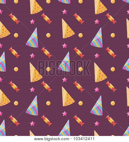 Seamless Funny Texture with Party Hats and Sweets