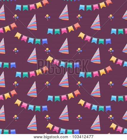 Seamless Holiday Pattern with Colorful Buntings and Party Hats