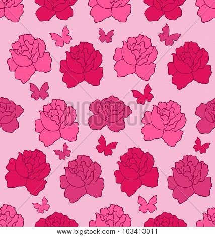 Seamless Texture with flowers Roses and Butterflies, Pink Romant