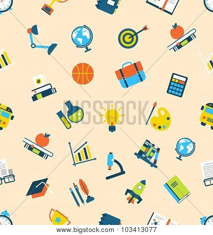 Illustration Seamless Texture with Icons of Education Item, Scho