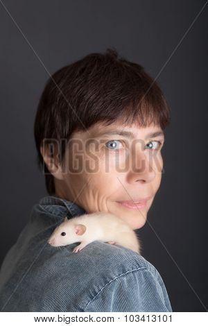 Baby Rat Sits On The Shoulder