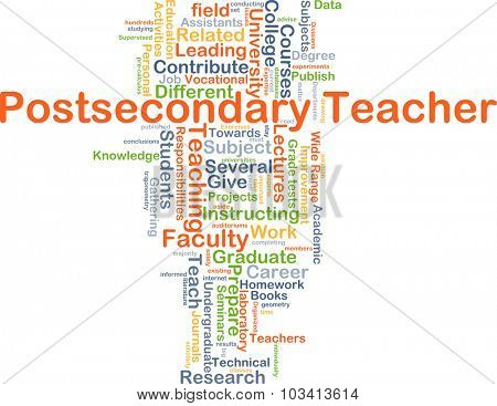 Background concept wordcloud illustration of postsecondary teacher