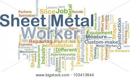 Background concept wordcloud illustration of sheet metal worker