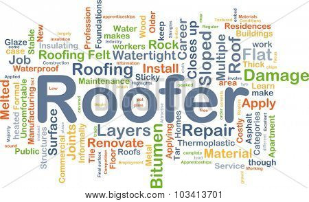 Background concept wordcloud illustration of roofer