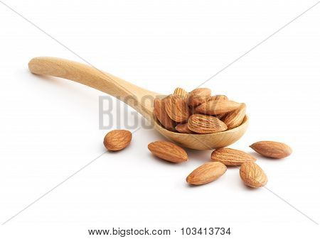 Almonds On Wooden Spoon