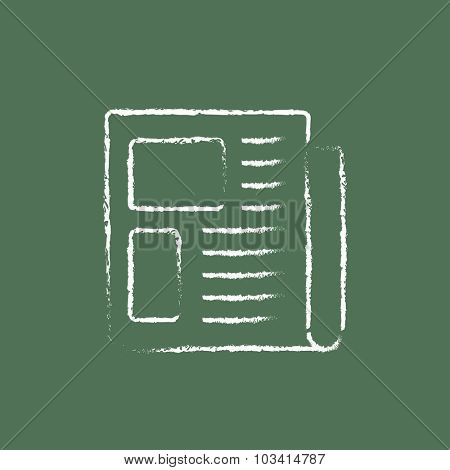 Newspaper hand drawn in chalk on a blackboard vector white icon isolated on a green background.