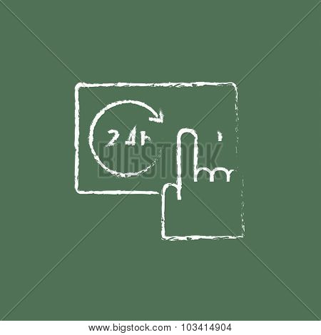Available around the clock hand drawn in chalk on a blackboard vector white icon isolated on a green background.