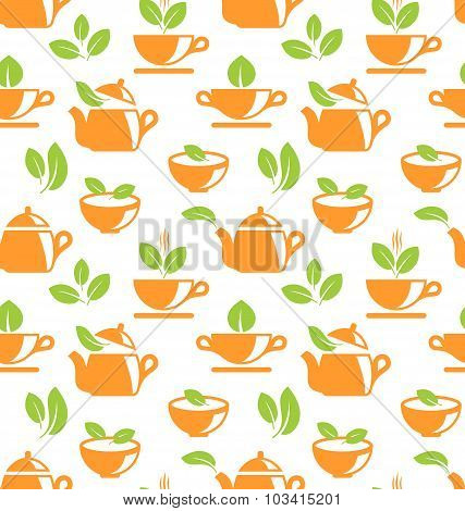 Seamless Pattern with Teapots and Teacups