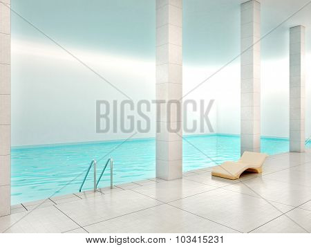 3D Illustration Of Indoor Pool With Blue Water