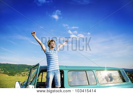 Young people on a road trip