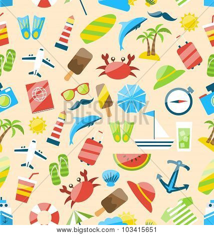 Travel Seamless Pattern with Tourism Objects and Equipments