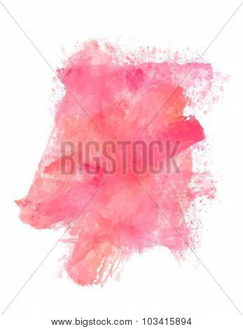 Abstract Artistic Pink Watercolor Stain, Vector, Design Template