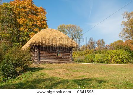 timbered log hut