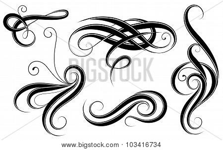 Set of calligrahic design elements