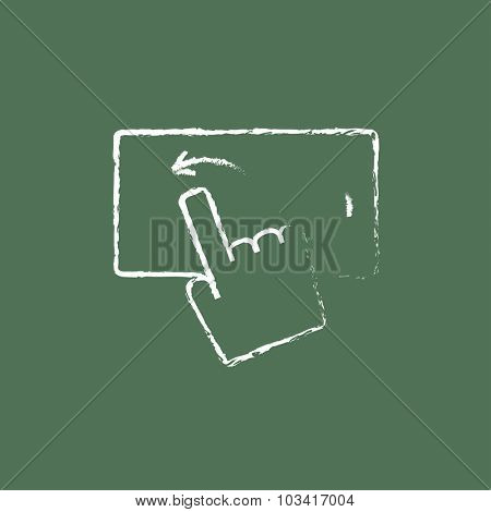 Touch screen smartphone hand drawn in chalk on a blackboard vector white icon isolated on a green background.