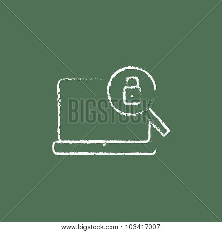 Laptop and magnifying glass hand drawn in chalk on a blackboard vector white icon isolated on a green background.