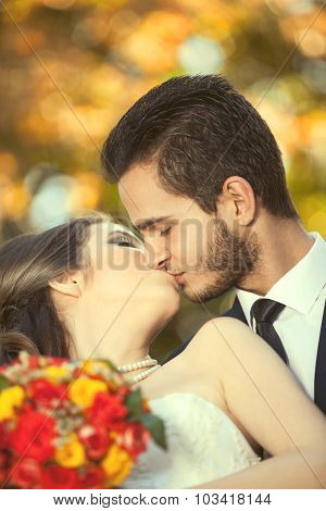 Just Married Couple Kissing On Blurred Autumn Background