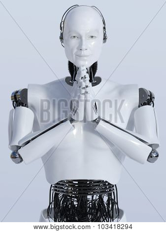 Robot Man Doing Namaste Nr 2.