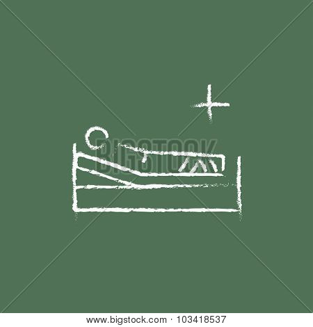 Patient lying on the bed hand drawn in chalk on a blackboard vector white icon isolated on a green background.