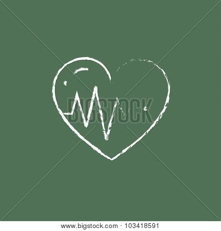 Heart with cardiogram hand drawn in chalk on a blackboard vector white icon isolated on a green background.