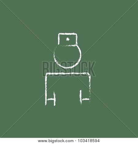 Nurse hand drawn in chalk on a blackboard vector white icon isolated on a green background.