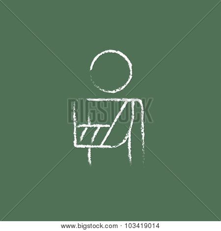 Injured man hand drawn in chalk on a blackboard vector white icon isolated on a green background.