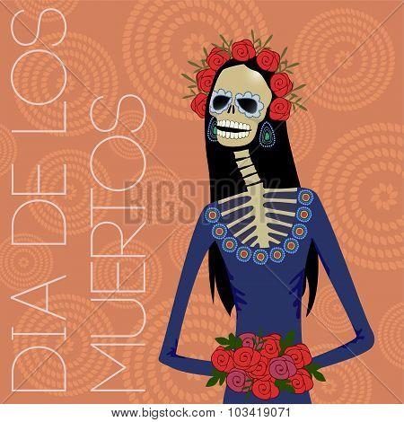 Day of dead sugar skull woman